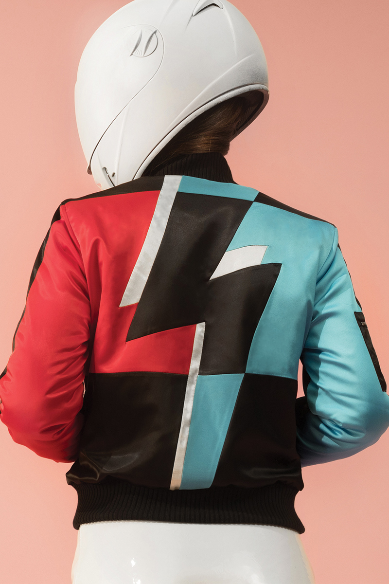 Zeer Blue Red Flash Bomber Jacket | Tatjana Ostojic #TL28